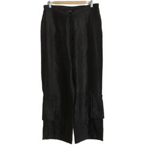 LACE Black Shiny Lagenlook Pull On Palazzo Pants